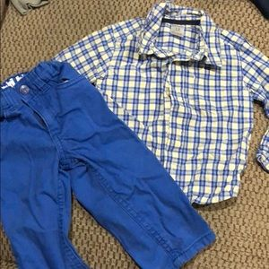 Plaid button down with matching pants